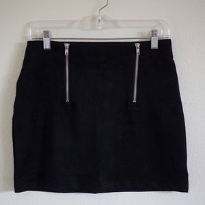 Black Suede Skirt with Zipper Details